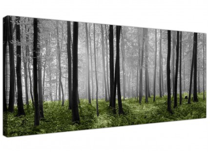 Black White Green Forest Scene Canvas Print Woodland Trees Landscape Picture