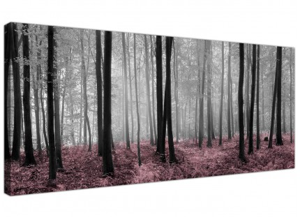 Black White Pink Forest Scene Canvas Print Woodland Trees Landscape Picture