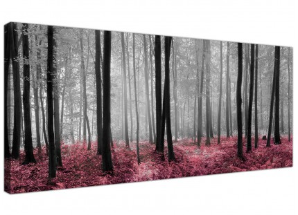 Large Black White Pink Grey Forest Woodland Trees Canvas Art - 120cm - 1241