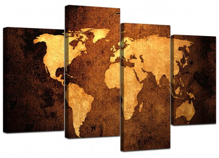 Vintage Old World Map - Brown Cream Canvas - Split Set of 4 - 130cm - 4188