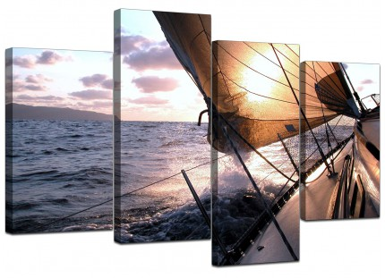 Sailing Yacht Boat Ocean Sunset Landscape Canvas - Split 4 Piece - 130cm - 4096