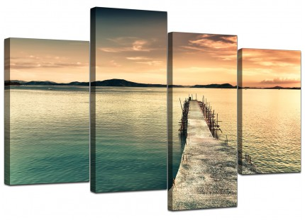 Sunset Jetty Pier Blue Lake View Landscape Canvas - Split 4 Part - 130cm - 4108