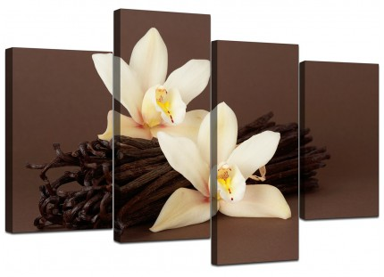 Canvas Prints UK of White Orchids on Brown Background for your Kitchen