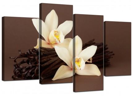 Brown and Cream Flower Floral Canvas - Split 4 Set - 130cm - 4121