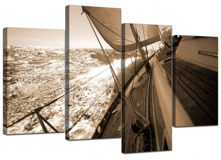 Sepia Brown Yacht Sailing Boat Ocean Landscape Canvas - 4 Piece - 130cm - 4106