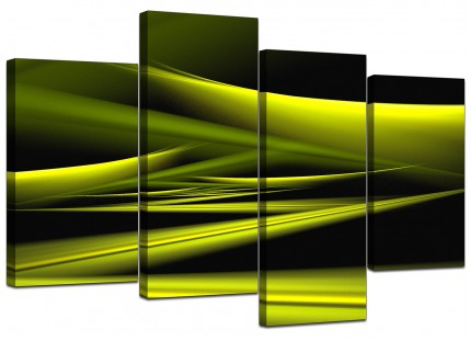 Lime Green & Black Waves Abstract Canvas - Multi 4 Panel - 130cm - 4047
