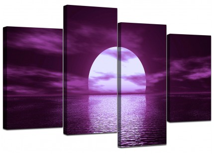 Purple Sunset Ocean Sky Landscape Canvas - Multi 4 Piece - 130cm - 4002