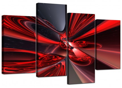 Red Black Modern Contemporary Abstract Canvas - Multi 4 Part - 130cm - 4006