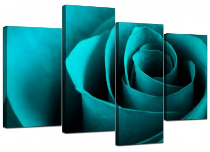 Teal Turquoise Blue Rose Petal Flower Floral Canvas - Set of 4 - 130cm - 4109