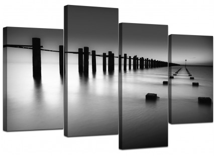 Black White Beach Scenery Landscape Canvas - Split 4 Part - 130cm - 4085