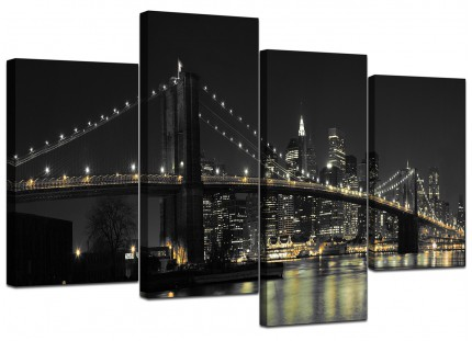 Black White NYC Brooklyn Bridge City Canvas - Split 4 Piece - 130cm - 4075