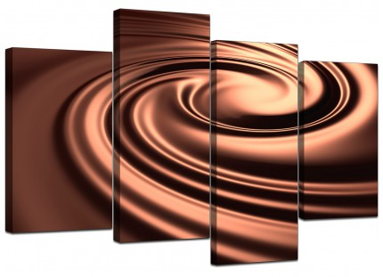Brown Modern Swirl Design Abstract Canvas - Multi 4 Piece - 130cm - 4061