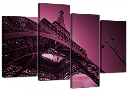 Purple Eiffel Tower Scene Paris City Canvas - Multi 4 Piece - 130cm - 4015