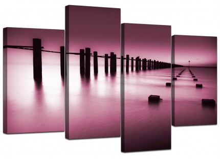Plum Coloured Beach Scene Landscape Canvas - Multi 4 Piece - 130cm - 4087