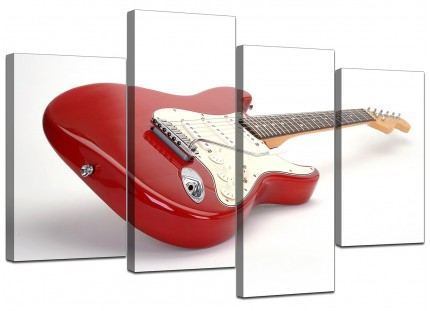 Red White Fender Electric Guitar Music Canvas - Split 4 Panel - 130cm - 4007