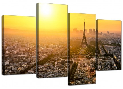 Paris Sunset Skyline Eiffel Tower Yellow Cityscape Canvas - 4 Part 130cm - 4153