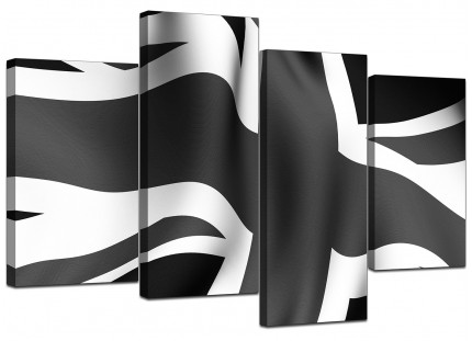 Black White Grey Union Jack Flag Abstract Canvas - Multi 4 Panel - 130cm - 4019