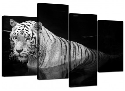 Black White Bengal Tiger Water Canvas - Multi 4 Panel - 130cm - 4020