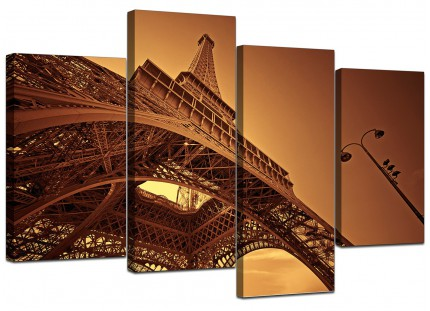 Brown and Cream Eiffel Tower Paris City Canvas - Multi 4 Part - 130cm - 4013