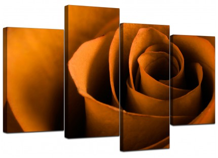 Orange Black Rose Petal Flower Floral Canvas - Multi 4 Set - 130cm - 4141