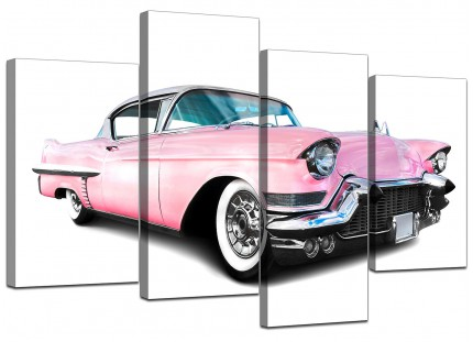 Pink Cadillac American Classic Car Canvas - Split Set of 4 - 130cm - 4040