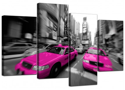 Pink Grey Black New York Taxi Cab Cityscape Canvas - Split 4 Panel 130cm - 4026