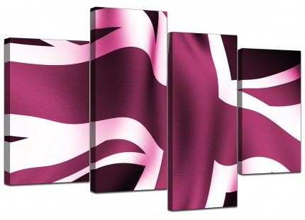 Plum Purple Union Jack Flag Abstract Canvas - Split 4 Part - 130cm - 4009