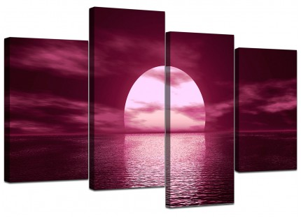 Plum Coloured Sunset Sea Landscape Canvas - Multi Set of 4 - 130cm - 4004