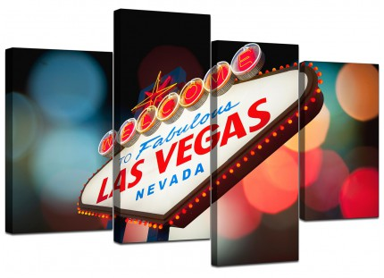 Las Vegas Strip Sign Gambling City Canvas - Multi Set of 4 - 130cm - 4126