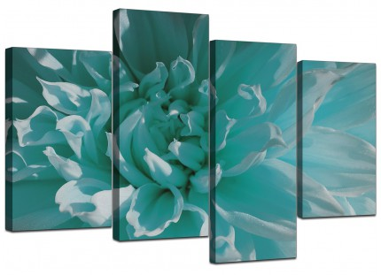 Teal Blue Chrysanthemum Flower Floral Canvas - Split 4 Piece - 130cm - 4103