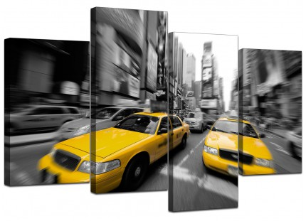 Black White Yellow Grey New York Taxi City Canvas - Multi 4 Panel - 130cm - 4028