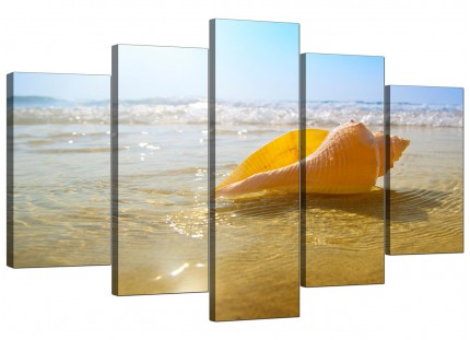 Yellow Blue Shells Landscape Bathroom Beach XL Canvas - 5 Panel - 160cm - 5148