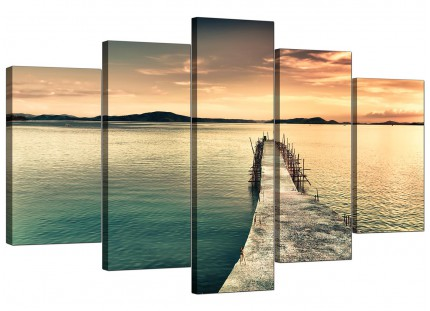 Sunset Jetty Pier Blue Lake View Landscape XL Canvas - 5 Piece - 160cm - 5108