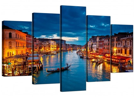 Venice Italy Gondola Grand Canal Blue City XL Canvas - 5 Panel - 160cm - 5068