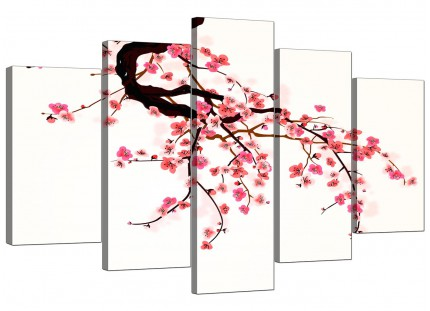 Japanese Cherry Blossom Tree Pink Cream Floral XL Canvas - 5 Set - 160cm - 5081
