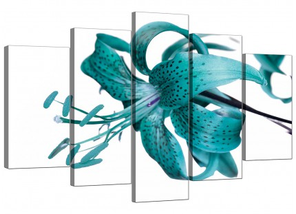 Extra Large Teal Tiger Lily Flower on White Floral Canvas - 5 Set - 160cm - 5054
