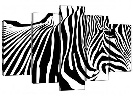 Extra Large Black White Abstract Zebra Stripes Canvas - 5 Set - 160cm - 5022