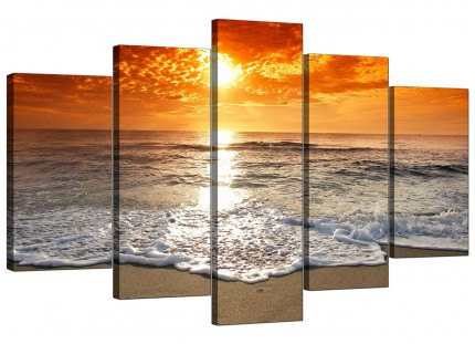 Ocean Sunset Beach Scene View Orange Landscape XL Canvas - 5 Set - 160cm - 5152