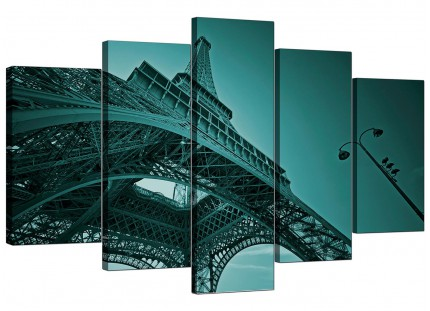 Extra Large Teal Coloured Eiffel Tower Paris City Canvas - 5 Part - 160cm - 5014