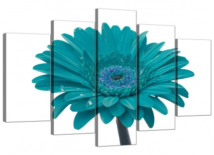 Extra Large Flower Canvas Pictures 5 Panel in Teal