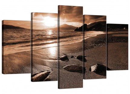 Brown Beige Sunset Beach Scene Landscape XL Canvas - 5 Set - 160cm - 5076