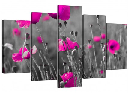 Pink Poppy Black Grey Flower Poppies Floral XL Canvas - 5 Part - 160cm - 5137