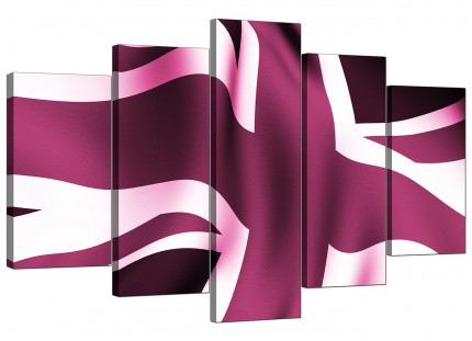 Extra Large Plum Purple Union Jack Flag Abstract Canvas - 5 Set - 160cm - 5009