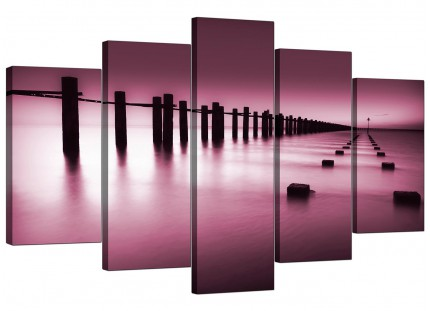Extra Large Plum Coloured Beach Scene Landscape Canvas - 5 Part - 160cm - 5087