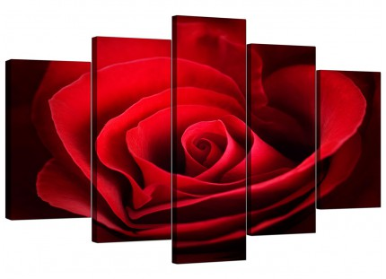 Extra Large Red Rose Heart Petals Flower Floral Canvas - 5 Part - 160cm - 5044