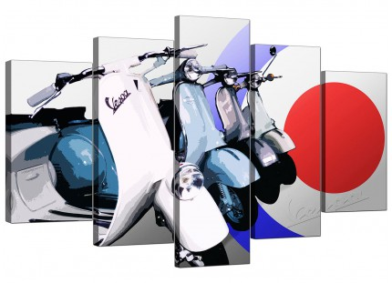 Extra Large Vespa Scooter Mod Soul Retro 60's Canvas - 5 Part - 160cm - 5149