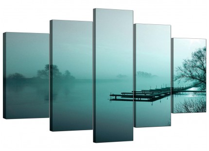 Extra Large River Landscape Canvas Pictures 5 Piece in Teal