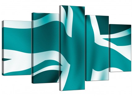 Teal Green Blue Union Jack Flag Abstract XL Canvas - 5 Set - 160cm - 5010