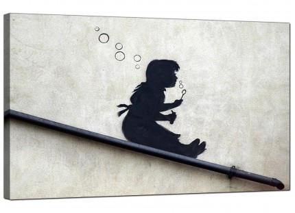 Large Banksy Bubble Girl Modern Canvas Art - 73cm - 175m