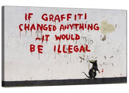 Large Banksy If Graffiti Changed Anything Modern Canvas Art - 73cm - 185m